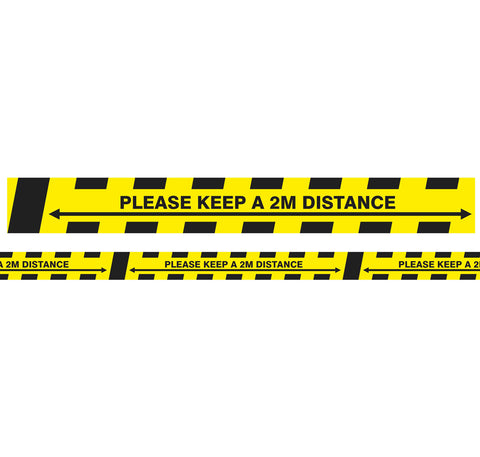 Laminated Social Distancing 2 Metre Chevron Floor Marking Tape Roll