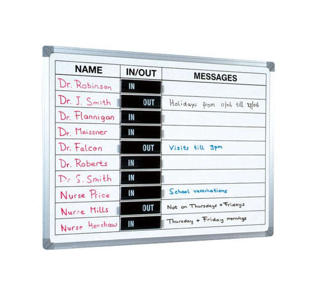 Aluminium Framed Magnetic In-Out Message Whiteboard