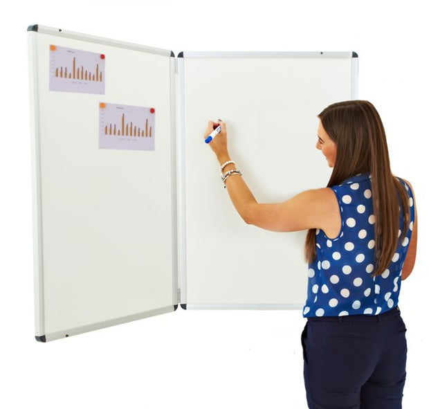 Winged Whiteboard 900x600mm Magnetic Right hand fixed