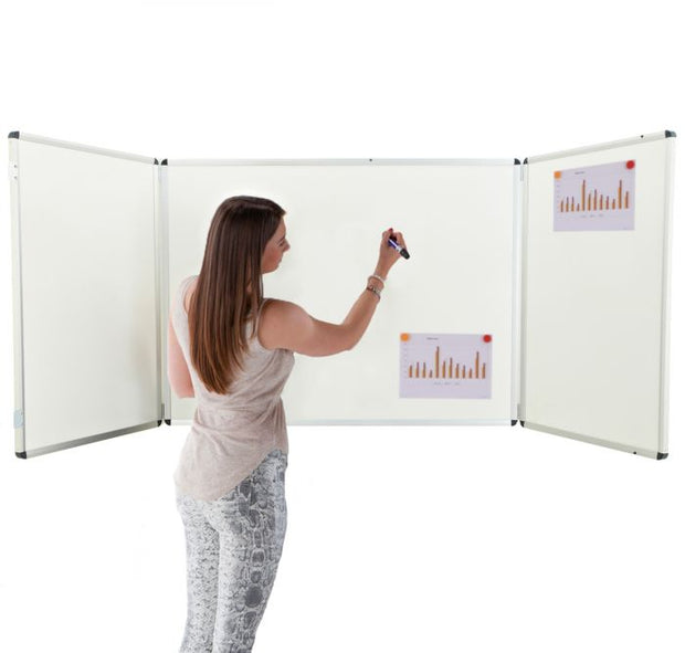 Winged Whiteboard 1200x900mm non magnetic centre fixed