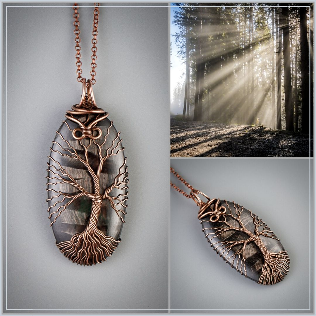 Amulet of Allowance and Inertia Handcrafted natural  Ironbark wood copper  esoteric healing crystal upcycled Amulet pendant necklace