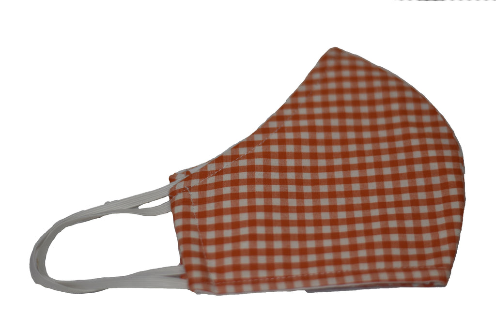 Orange Checkers - Reusable Designer CDC Face Mask COVID-19 Corona Virus Protection