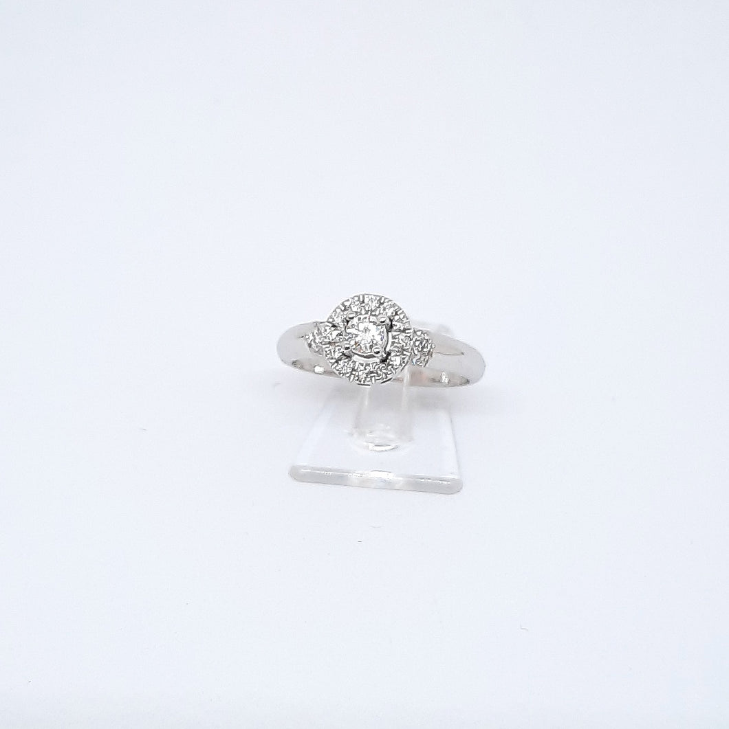 Anello con diamanti in oro bianco 18 kt AND 2
