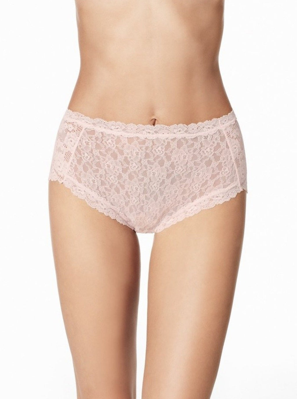 Light pink. New high rise panties manufactured in a combination of high stretch blonda lace, trimmed with smooth, adaptable lace edging. With no elastic around the legs or waist, these garments don't leave marks and are extra-comfortable. Sewn-in cotton gusset for comfort.
