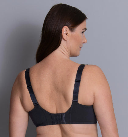 Black colour back view. Delicate design meets convincing functionality with the unique SELMA series underwire bra, especially designed to support larger cup sizes while pretty decorations on the straps create a charming look and luxurious feeling.  Cups - four-part, continuous frame Straps - Increasing with size range Back - double-layered power mesh reinforcement