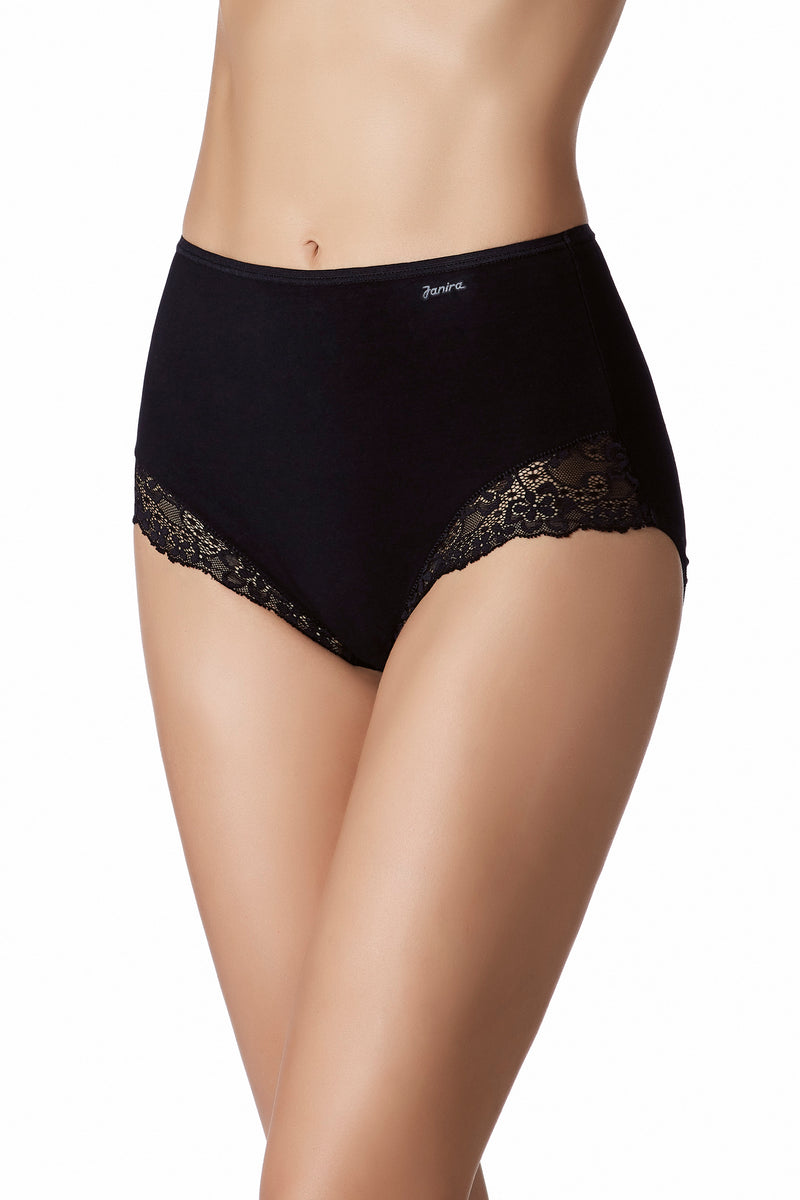 Black cotton panties underwear. Functional meets beautiful with this Italian-designed cotton panties from Janira.  Janira is famous for it's high-quality shaping effect and quality fabrication and these panties deliver.  With delicate lace along the front side panels, these are sure to become your favorite everyday panty.  Higher rise on waist and brief style, full-coverage bottoms.