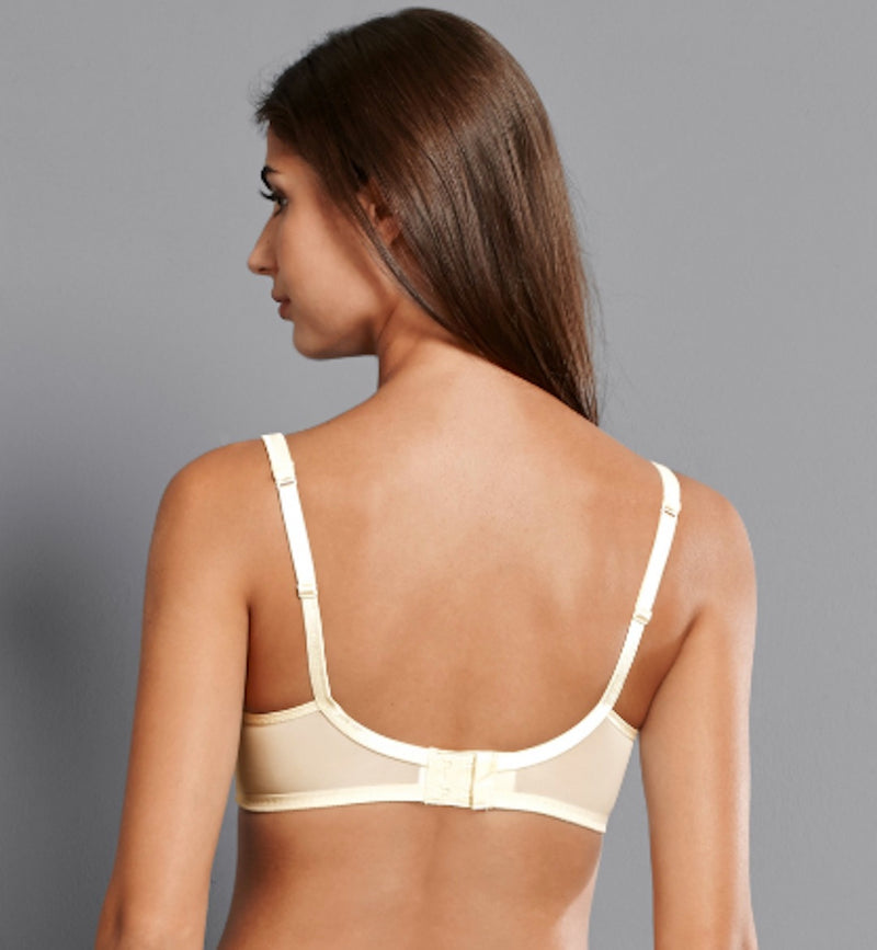 Champagne colour back view. Our LACE ROSE soft cup wireless bra starts at cup size A. This style is a great t-shirt bra with its smooth surface ensuring a perfect seamless look.  Padded bra with soft cups Super comfortable preformed cups without underwires. The cups feature lace at the side panel, on a smooth concealing cup  The comfortable straps are positioned closer to the center for an improved fit and best support.