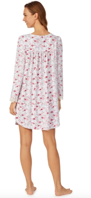 EILEEN WEST Cozy Roses Short Nightgown with Long Sleeves