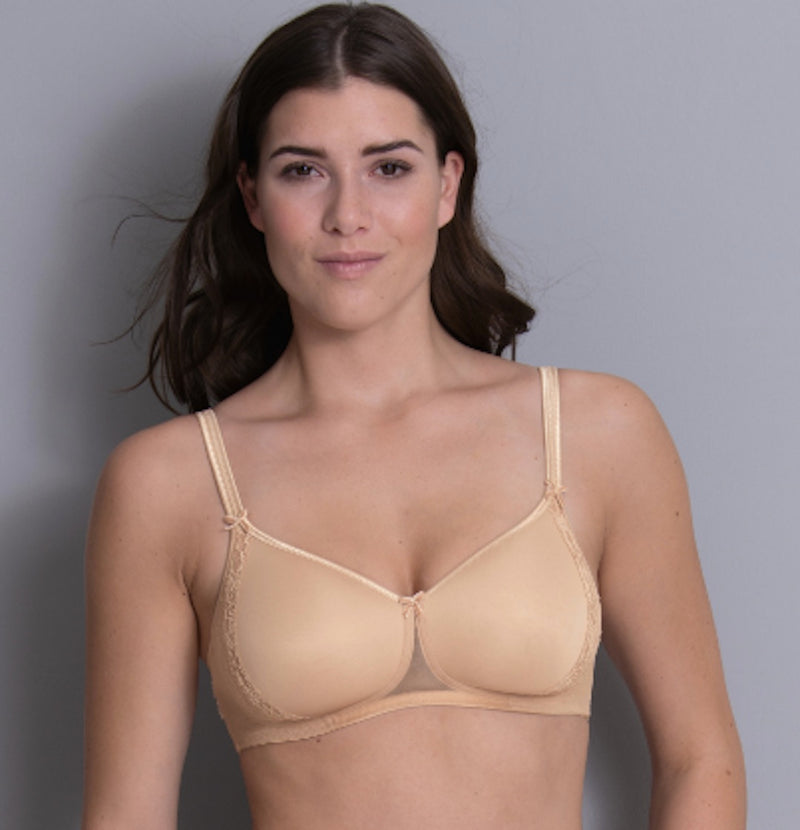 Desert colour front view. Our LACE ROSE soft cup wireless bra starts at cup size A. This style is a great t-shirt bra with its smooth surface ensuring a perfect seamless look.  Padded bra with soft cups Super comfortable preformed cups without underwires. The cups feature lace at the side panel, on a smooth concealing cup  The comfortable straps are positioned closer to the center for an improved fit and best support.