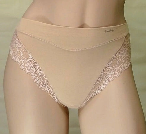 Janira Milano Cotton essential underwear. Dune colour. Comfortable soft cotton briefs with pretty stretch lace panels and a terrycloth gusset.