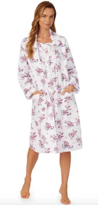 "Our classic 42"" zip robe in a cotton rich soft midweight Diamond Quilt is a perfect robe to add on to your collection in a new Plumberry Floral.  Eileen West Logo pull zipper and two front patch pockets perfect for holding your phone."