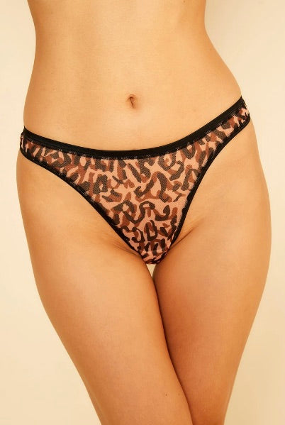 Made by Cosabella. Soire Confidence is now available in a leopard printed pattern for a fun splash of color. Fashioned in high quality power mesh, shiny elastic details and new flat-lock stitched seams for a seamless look.  Mid rise thong. Sheer, lightweight and comfortable mesh. Stretch mesh with glossy elastic trim. Minimal rear coverage. Cotton lined gusset.