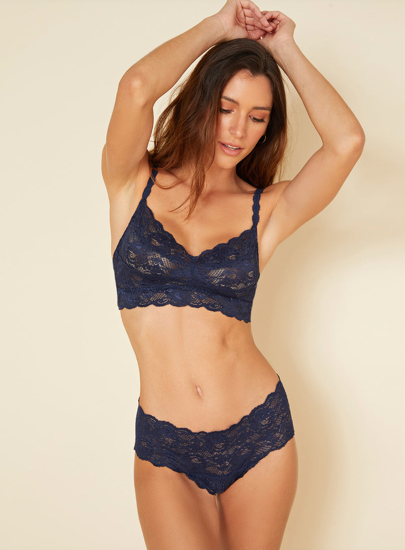 This Navy Blue coloured boyshort is made by Cosabella. The Never Say Never collection is loved for its beautiful floral pattern and innovative lace. Crafted in Italy with the highest quality materials. Low rise boyshorts Soft, stretch scalloped lace that lays flat Stretchy lace at waistband Moderate rear coverage Cotton lined gusset