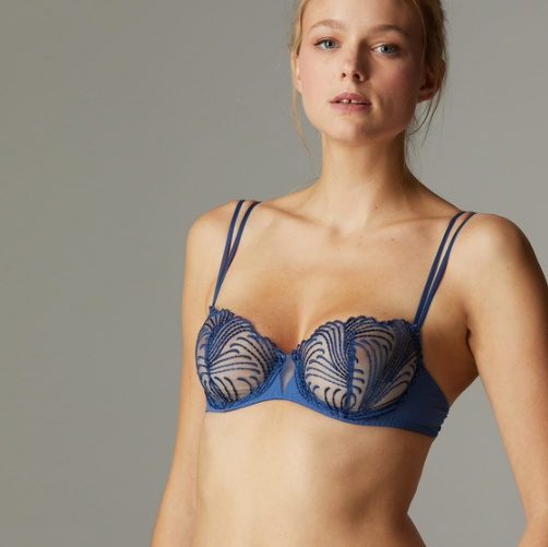 Beautiful blue denim colour. Simone Perele Nuance Sheer Embroidered Demi Bra. This stunning French bra highlights two of our favorite things: embroidery and that iconic demi shape.  Together they make for a show-stopping bra that hugs curves to perfection, with ultra-smooth microfiber sides and elegant two-way spaghetti straps.