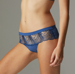 SIMONE PERELE Nuance Boyshort Underwear Blue Denim colour. We have the secret to the matching set: divinely soft, stretchy, seamless boyshort bottoms.  Did we mention the ultra-chic embroidery on sheer mesh?