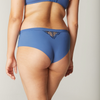 SIMONE PERELE Nuance Boyshort Underwear Blue Denim colour. Back view of model. We have the secret to the matching set: divinely soft, stretchy, seamless boyshort bottoms.  Did we mention the ultra-chic embroidery on sheer mesh?