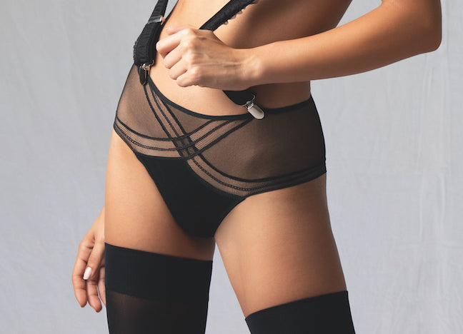 Fall under the spell of this new sexy Soir Adrenaline line of black lingerie from Antigel by Lise Charmel. Choose this sexy, sassy boyshort with tulle. Fun and sassy and sexy underwear.