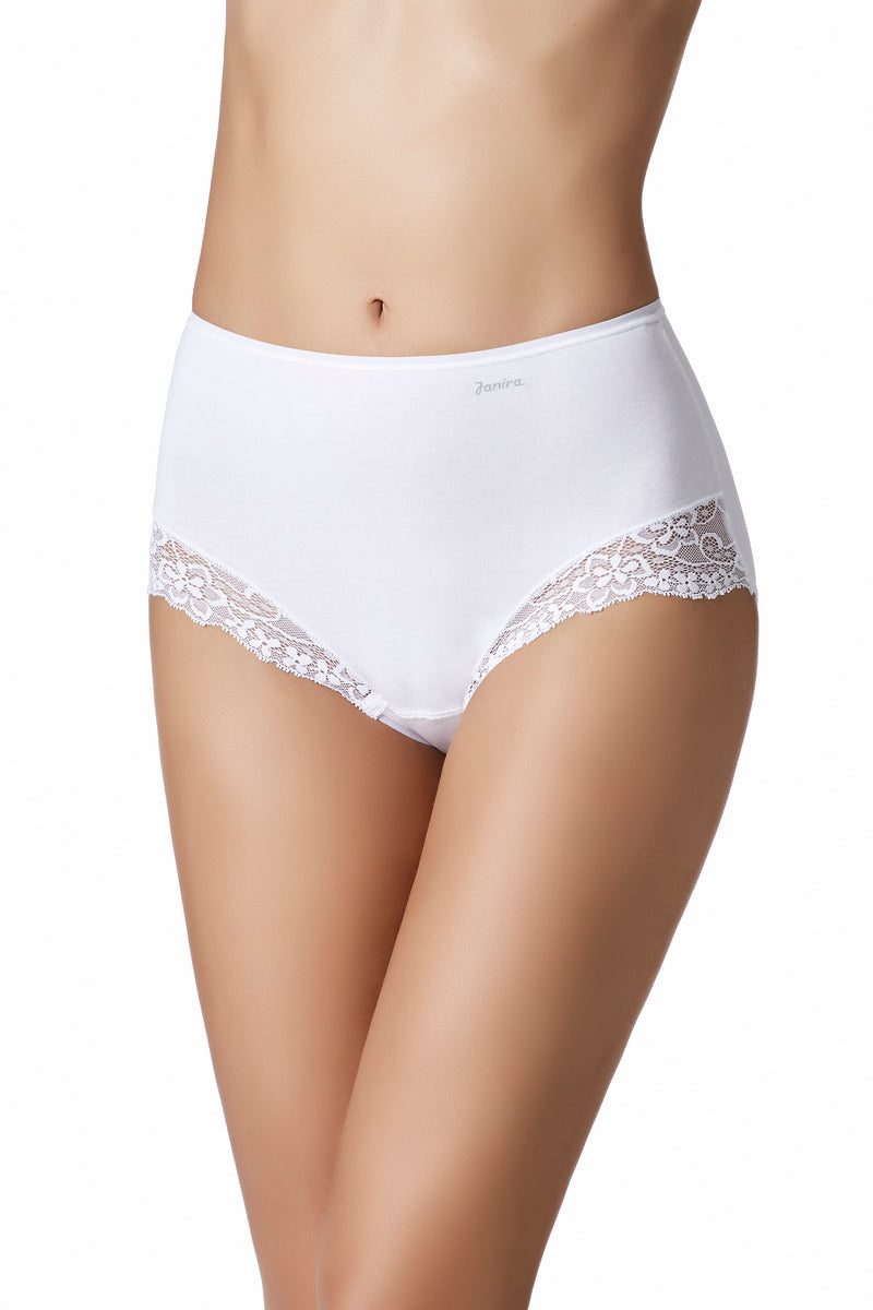 White cotton panties. Functional meets beautiful with this Italian-designed cotton panties from Janira.  Janira is famous for it's high-quality shaping effect and quality fabrication and these panties deliver.  With delicate lace along the front side panels, these are sure to become your favorite everyday panty.  Higher rise on waist and brief style, full-coverage bottoms.