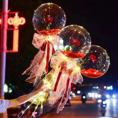 DIY LED Luminous Balloon Rose Bouquet with Sticks
