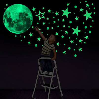 Glowing Moon & Stars Wall Decals