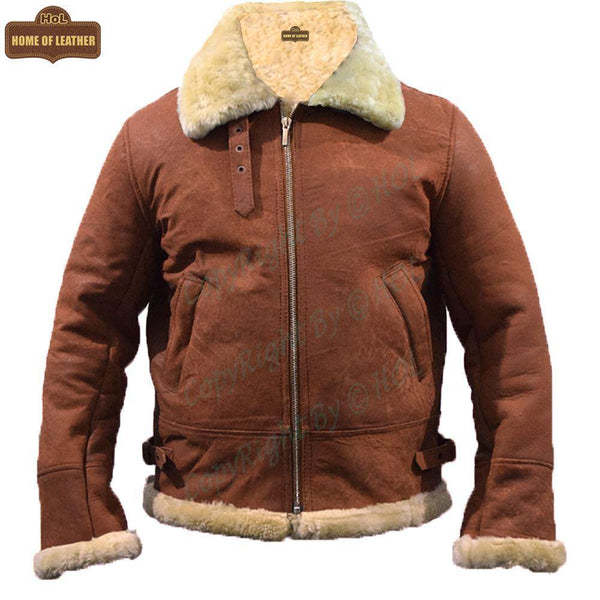 B002 B3 Brown Shearling Coat WWII Bomber Genuine Leather Aviator Style Jacket For Men - Home of Leather