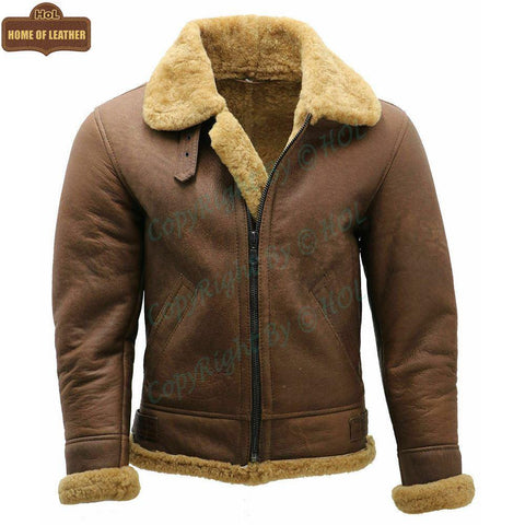 B002 B3 Brown Shearling Coat WWII Bomber Winter Warm Genuine Leather Jacket For Men - Home of Leather