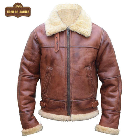 B003 B3 Brown Shearling Coat WWII Bomber Sheep Leather Aviator Jacket For Men's - Home of Leather