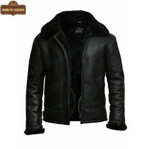 B004 B3 RAF Flying Aviator Real Fur Bomber Black Winter Genuine Leather Men's Jacket - Home of Leather
