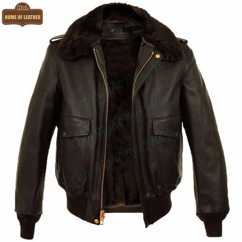 B006 Fashion B3 Bomber Real Leather RAF Winter Warm Brown Faux Fur Men's Style Jacket - Home of Leather