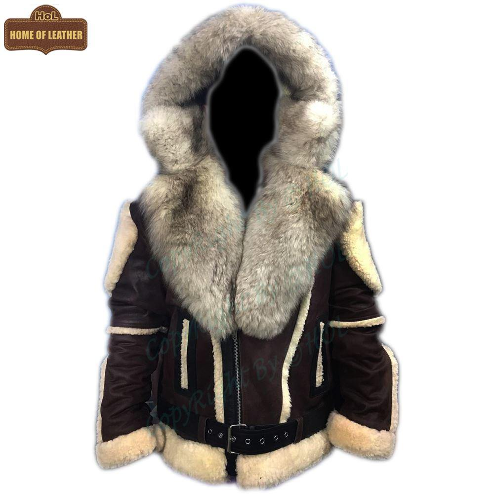 B008 HoL Original Brand Hood Warm Brown Sheep Leather Men's Jacket - Home of Leather