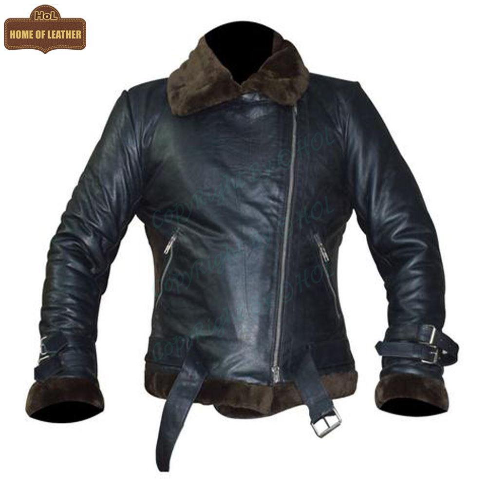 B012 RAF B3 Fashion Black Bomber Faux Fur Shearling Style Men's Jacket - Home of Leather
