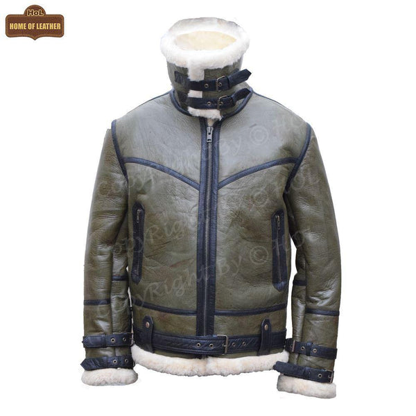 B013 HoL RAF B3 Men's Aviator WWII Genuine Green Winter Jacket - Home of Leather