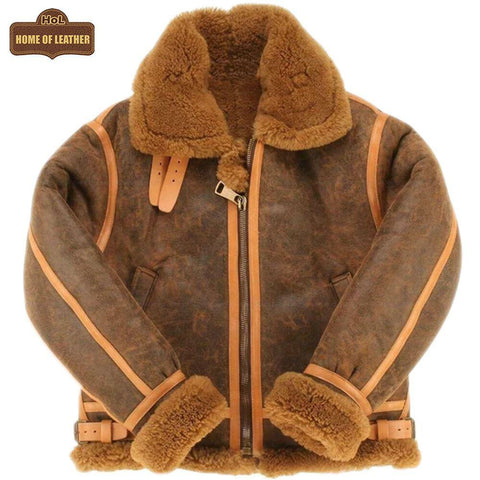 B015 RAF Brown Shearling Winter Fashion Bomber Aviator Jacket - Home of Leather