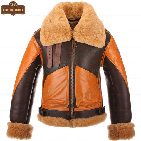 B016 Two Tone RAF Bomber Brown Real Sheepskin Shearling Men's Jacket - Home of Leather