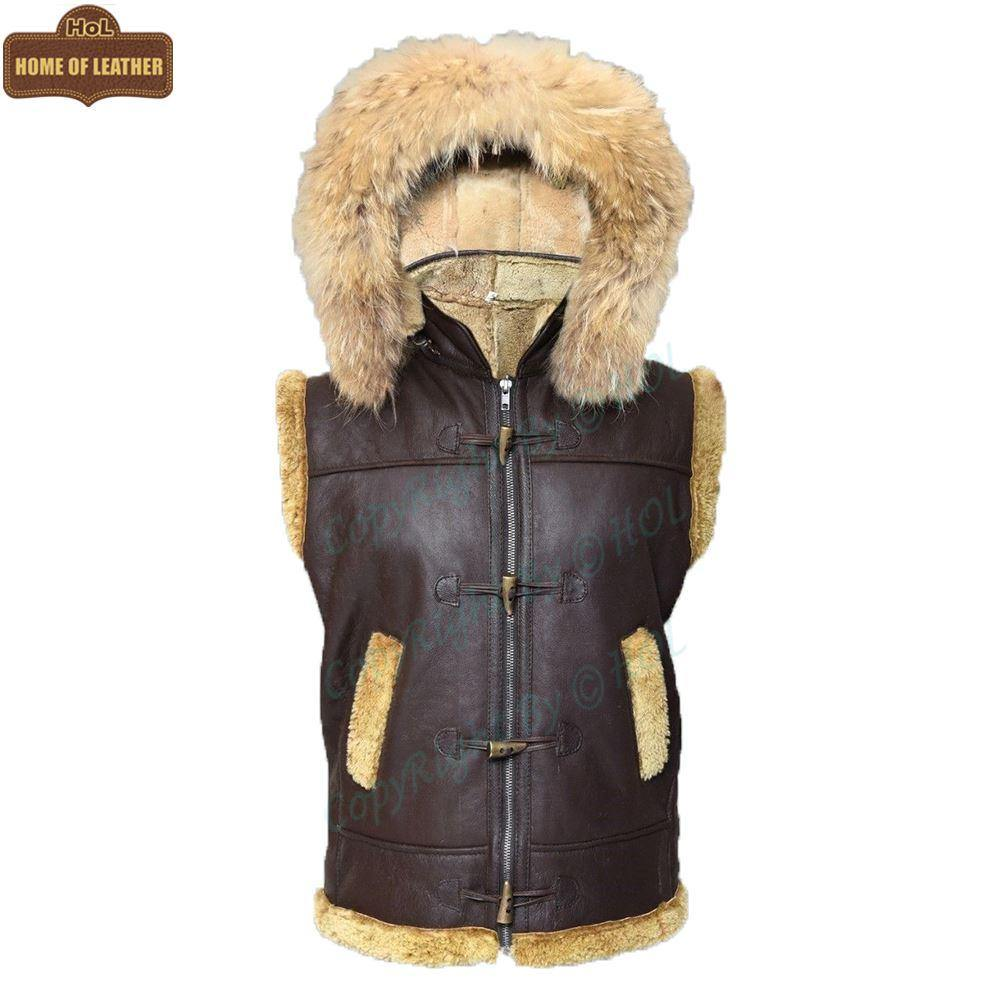 B017 RAF Fur Shearling Brown Hood Genuine Leather Jacket Men's Winter Fashion Vest - Home of Leather