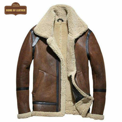 B019 Shearling Leather Jacket Mens Shearling Coat Crack Texture Pilot Leather Jacket - Home of Leather