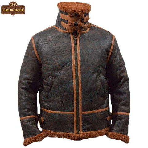 B022 RAF Brown Shearling Winter Fashion Bomber Aviator Jacket - Home of Leather