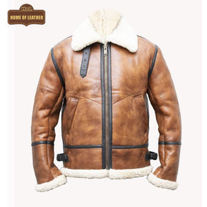 B023 Men's Fashion Fur Shearling Brown Bomber Winter Warm Real Leather Jacket - Home of Leather