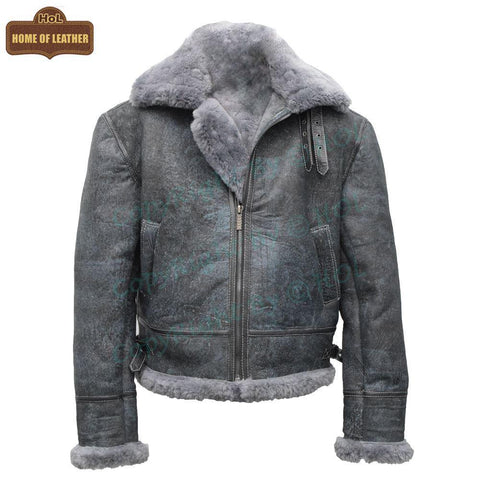 B027 Men's Vintage Distressed Winter Real Leather Fur Jacket Removable Hood - Home of Leather
