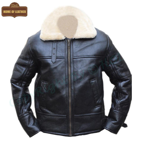 B028 Men's RAF Flying Aviator Real Shearling Fur Bomber Black Winter Leather Jacket Winter Men's Fur Jacket - Home of Leather