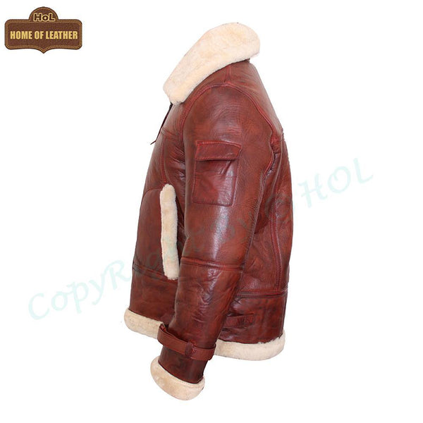 B029 RAF Men's B3 Bomber Real Leather Fur Shearling Winter New Arrival Brown Jacket Men's Winter Jacket - Home of Leather