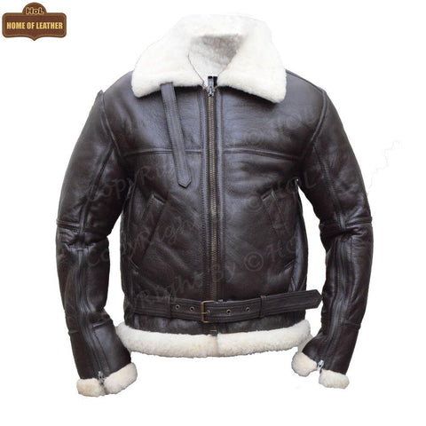 B033 Men's RAF Flying Aviator Real Shearling Fur Bomber Brown Winter Leather Jacket Men's Winter Fur Jacket - Home of Leather