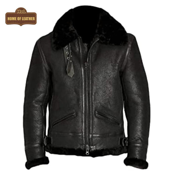B036 Men's Choco Black Flying Aviator Shearling Fur Winter Bomber Real Leather Jacket Men's Winter Fur Jacket - Home of Leather
