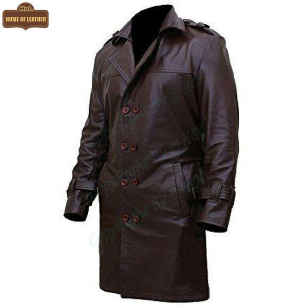 Bay Watchmen Rorschach Fashion Trench C002 Brown Jacket Genuine Leather Coat For Men - Home of Leather