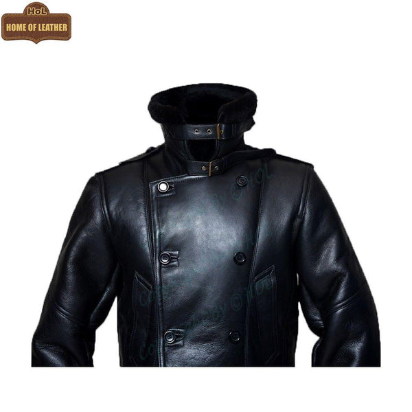 C003 Black Fur Shearling Winter Jacket Warm RAF B3 WWII Genuine Leather Coat For Men - Home of Leather