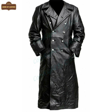 C004 Black German Classic Trench Genuine Jacket Leather Military Men's Fashion Coat - Home of Leather