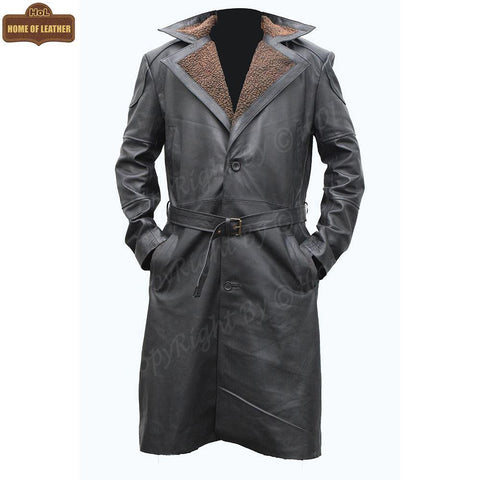 C006 German WW2 Brown Belted Fur Leather Trench Long Blade Runner Men's Coat - Home of Leather