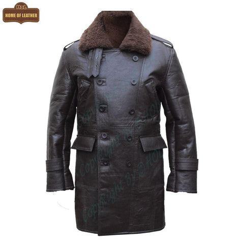 C011 RAF B3 Real Shearling Inner Fur Sheep Leather Coat - Home of Leather