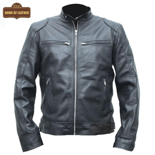 Cafe Racer Retro M042 Men's Black Real Leather Jacket 2020 - Home of Leather