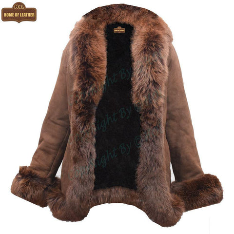 F002 HoL Women's Real Brown Real Sheep Shearling Fur Coat - Home of Leather